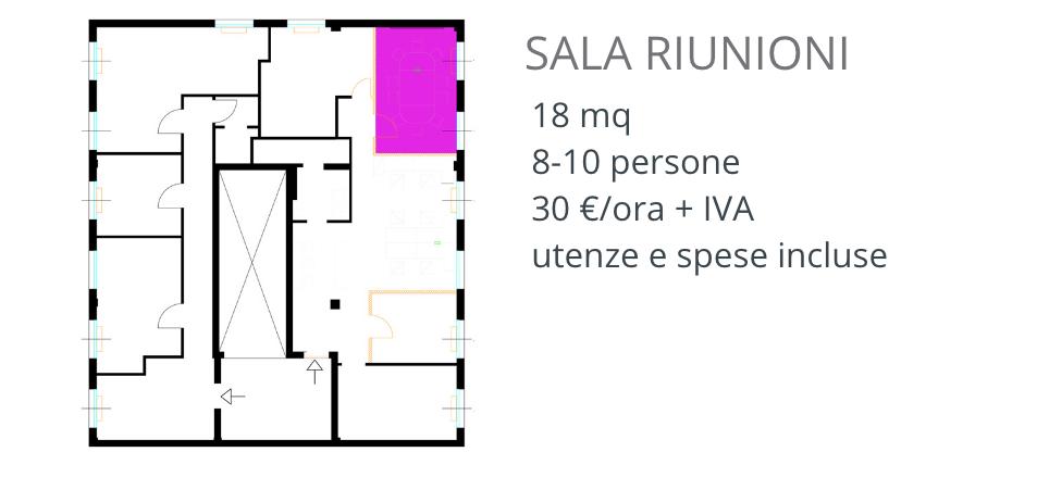 Sala riunioni attrezzata fino a 10-12 persone a Como