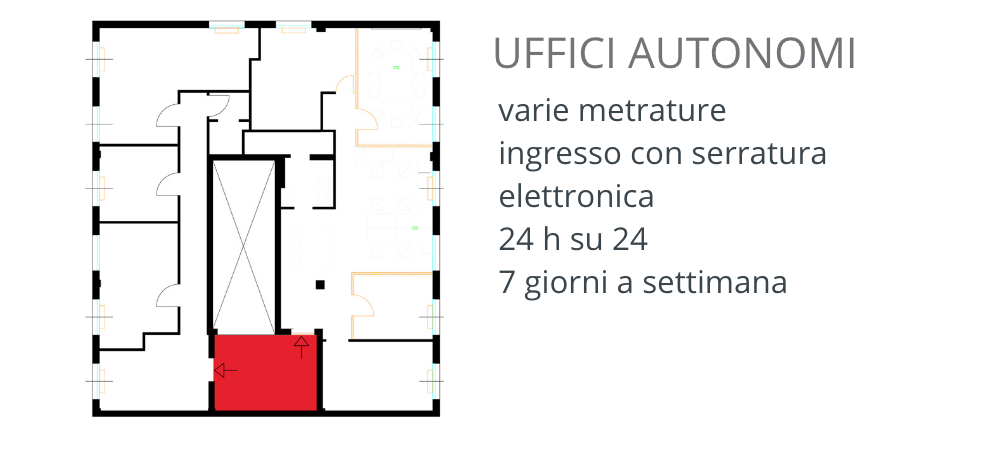 uffici varie metrature Como ingresso 24/7